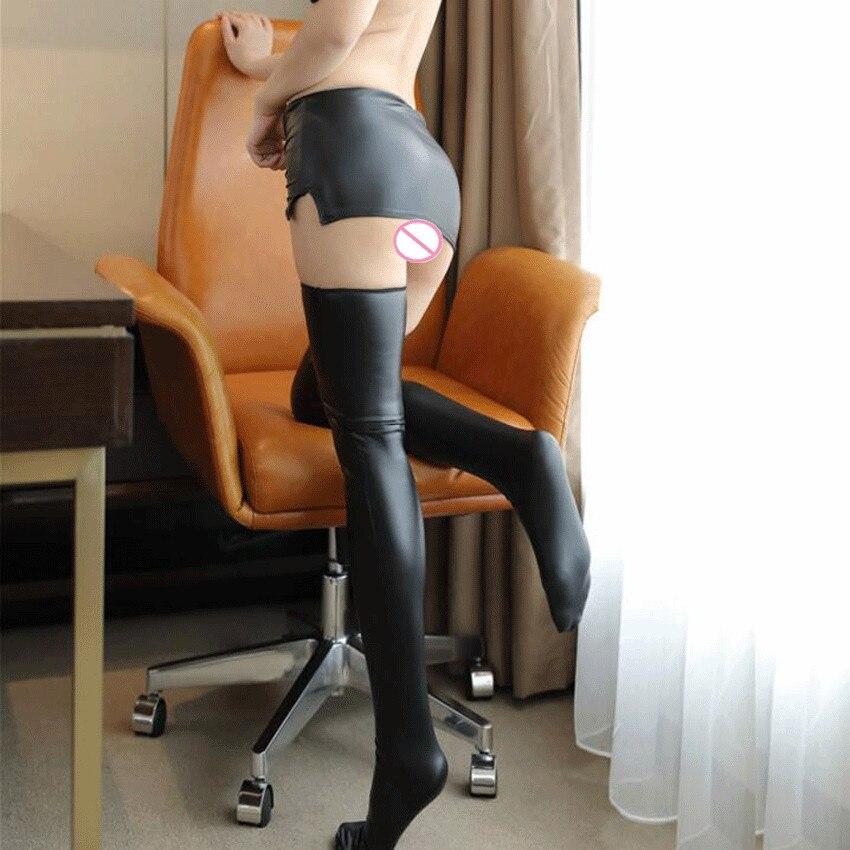 Women Sexy Lingerie Stockings Latex PU Shiny Thigh High Stocking Faux Leather Long Knee Women Pole Dance Mini Skirt