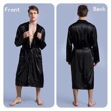 Черный мужской шелковый халат с длинным рукавом халат Летний мужской повседневный халат кимоно с v-образным вырезом юката фланелевый банный Халат