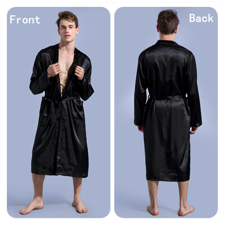 Black Men Silk Robe Slong Sleeve Robe Gown Summer New Male Casual Sleepwear V-Neck Kimono Yukata Bathrobe Dressing Gown