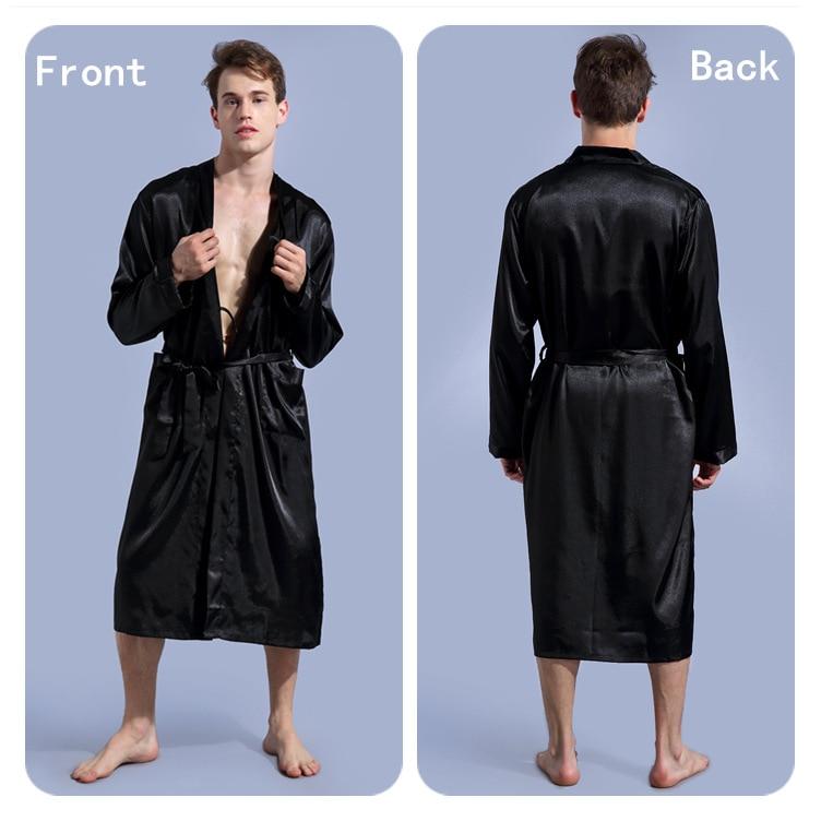 Black Men Silk Robe Slong Sleeve Robe Gown Summer New Male Casual Sleepwear V-Neck Kimono Yukata Bathrobe Dressing Gown