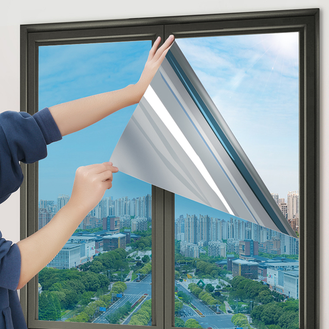Top One Way Mirror Window Film Vinyl Self-adhesive Reflective Solar Film Privacy Window Tint for Home Blue Silver Glass Stickers 2