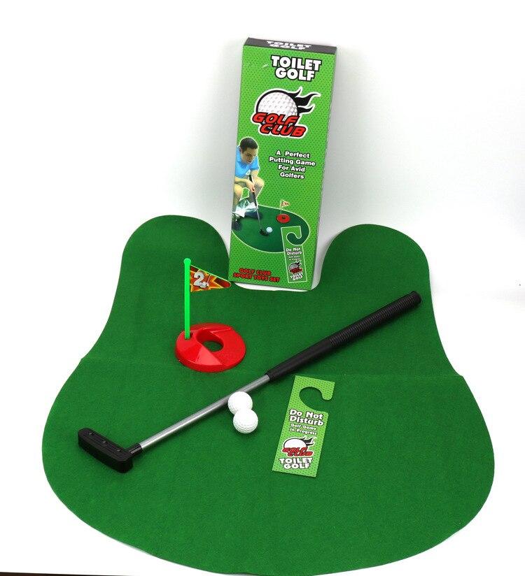 Strange New Children Sports Fitness Toilet Golf Course Set Push Clubs Mini Simulator Toy