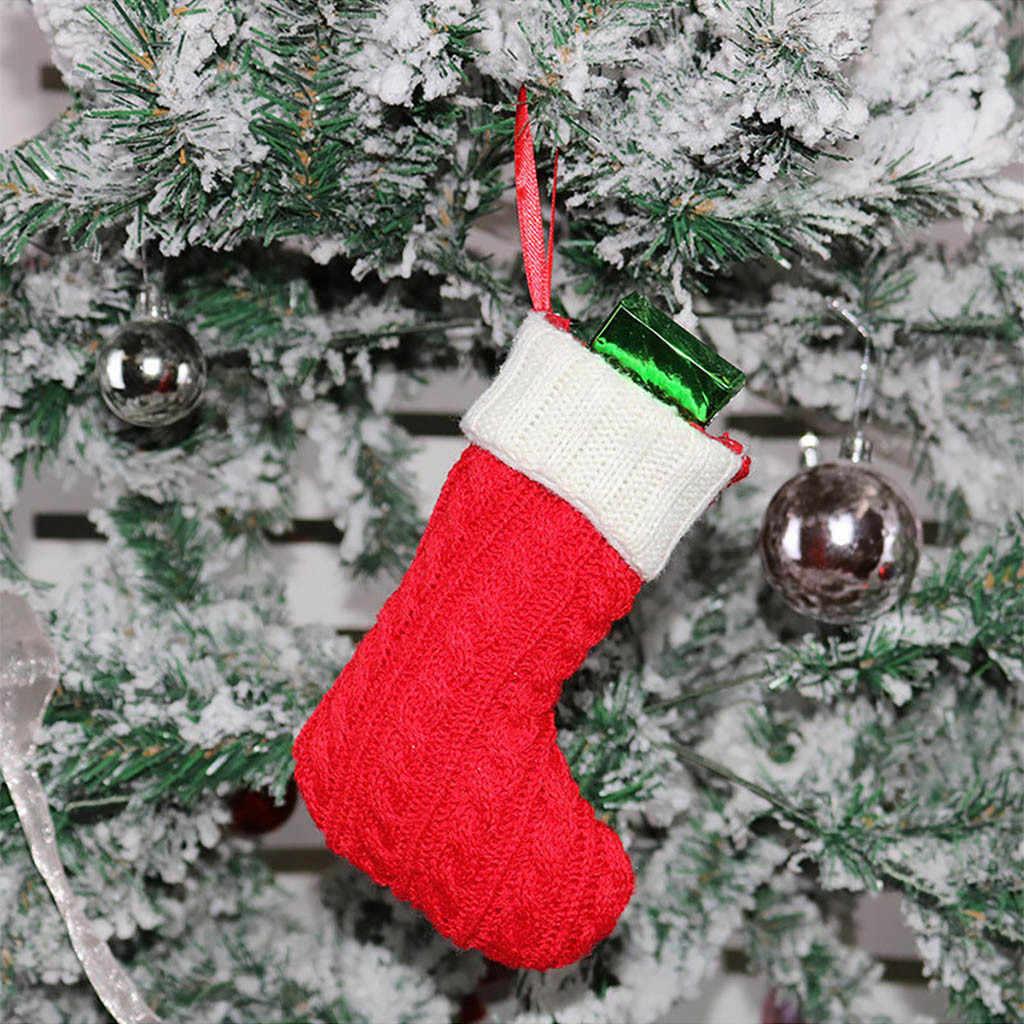 جوارب عيد الميلاد الهدايا القماش سانتا الأيائل الجوارب حقيبة هدايا للكريسماس جميل للأطفال الموقد شجرة عيد الميلاد الديكور حقيبة