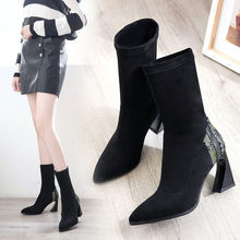 Fashion Snake Grain Socks Boots Stretch Fabric Pointed Toe Slip-On Boots Strange Heels Vintage Mid-calf Women Boots botas mujer(China)