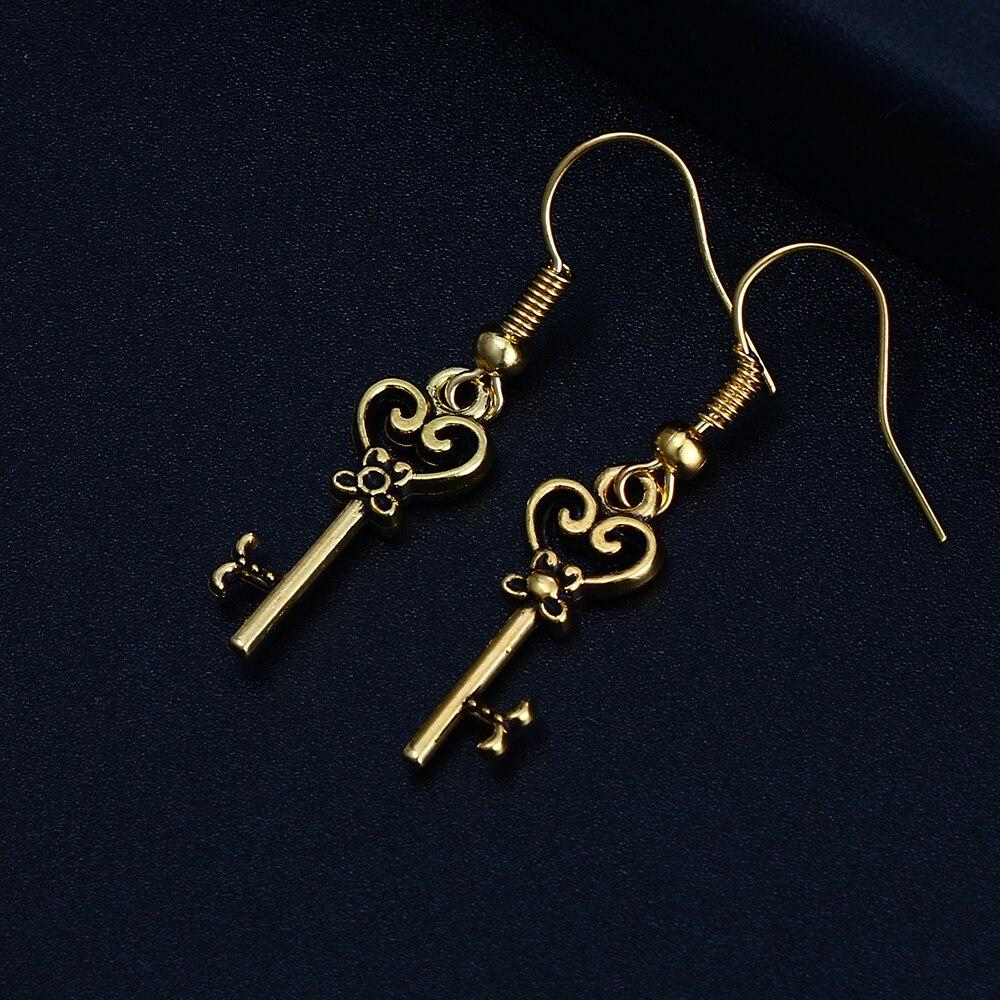 Trendy Key Shape Dangle Antique Silver Plated Earrings for Women Girl Retro Drop Earrings Cute Earring Jewelry Bijoux