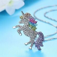 Fdlk семицветное ожерелье с подвеской в виде единорога ювелирные