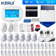 ใหม่มาถึง KERUI หน้าจอสี TFT จอแสดงผล WIFI GSM Home ALARM Security RFID แป้นพิมพ์ WiFi IP กล้อง