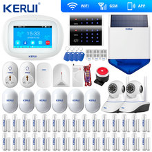 Nueva llegada KERUI pantalla grande TFT Color Display sistema de alarma Wifi/GSM alarma de casa de seguridad RFID teclado Wifi IP Cámara