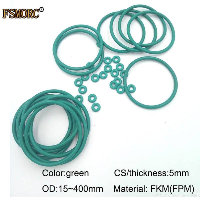 Уплотнительные кольца OD15mm ~ 400mm * 5mm, CS Green FKM, маслостойкая кислотно-Щелочная уплотнительная прокладка FPM, уплотнительное кольцо