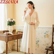 Long sleeve Cotton Nightgown suit Ruffles lace designer V neck Nightdress+Robes 2Pcs sets Ladies Sleepwear Homewear