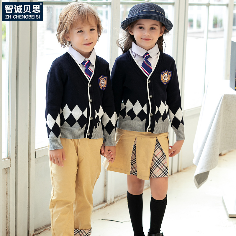 Children Autumn Kindergarten Suit Spring And Autumn Young STUDENT'S School Uniform Set British Style Business Attire Holiday Per