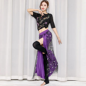 New Belly Dance Costume Set Female Adult Colorful Sequin Skirt BellydanceIndian Clothing Women Orientale Training Wear DN5231