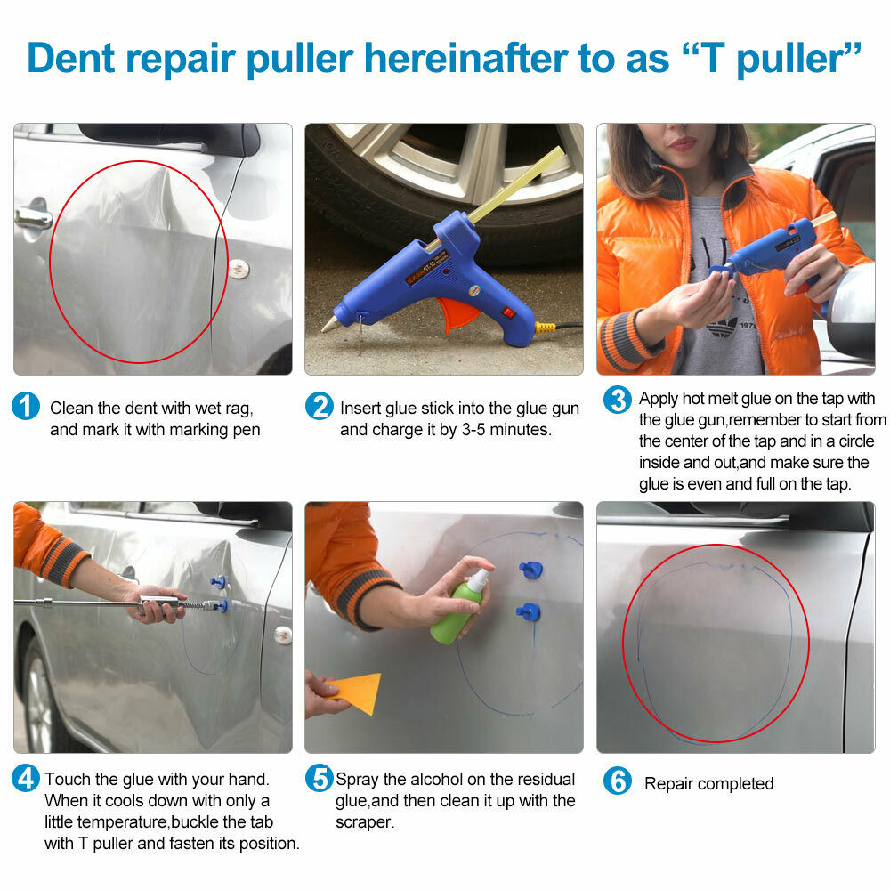 Tools : Pdr Tools Paintless Dent Repair Super Pdr Tools  Set Pdr Rods Kit Glue Sticks Car Body Repair Tools Paintless Dent Puller