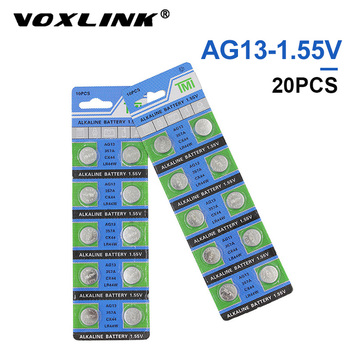 VOXLINK 20Pcs AG13 original brand new battery 1.55V button cell LR44/303 for Camera watch computer toy remote control  battery цена 2017
