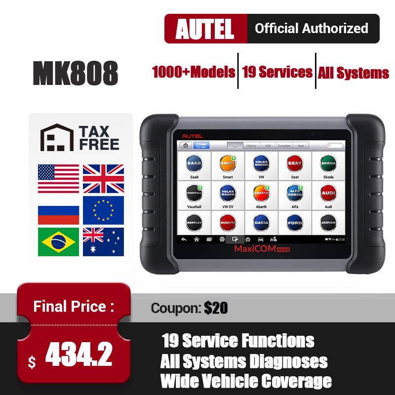 Autel MaxiCom MK808 OBD2 Scanner OBDII Car Diagnostic Tool Full System Automotivo Scan Tool Key Coding Auto Code Reader PK MX808