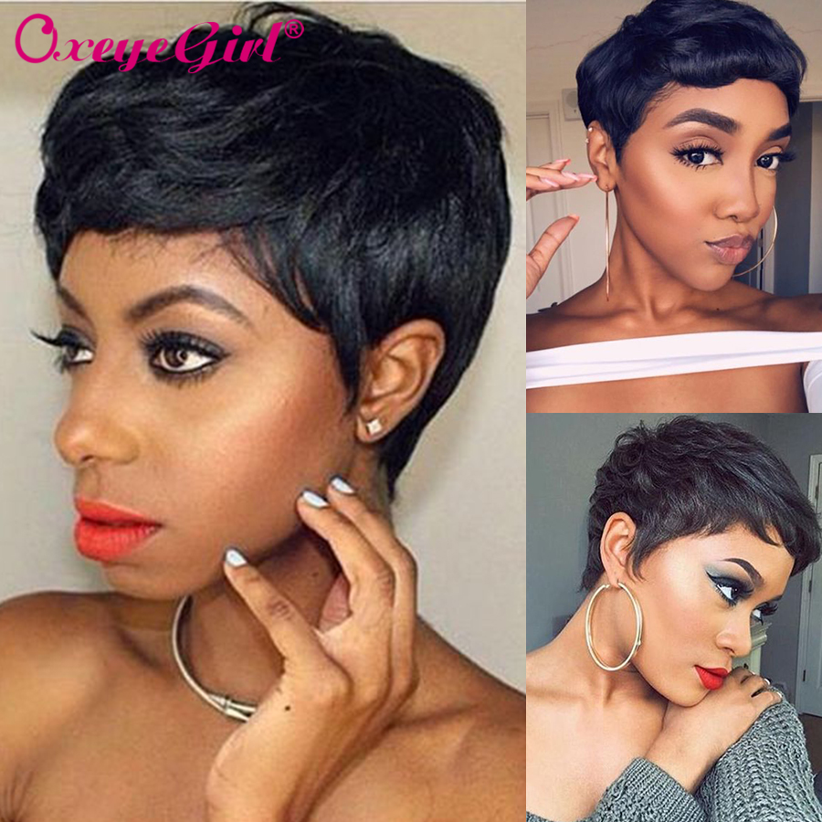 Pixie Cut Wig Human Hair Wigs For Women Short Brown Wig Brazilian Straight None Lace Wig Oxeye Girl Hair Remy Machine Wigs