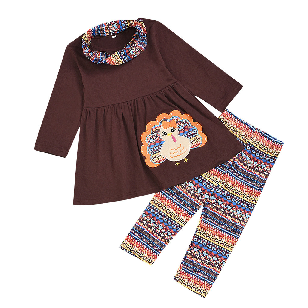 Xmas Thanksgiving Toddler Baby Girl Outfits Clothes Dress Tops+Pants Outfit Set