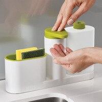 Kitchen Accessories Bathroom Liquid Soap Dispenser Bottle Storage Box WithTank Cleaning Sponge Brush Holder Rack Kitchen Gadgets