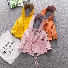 Ветрозащитное пальто с цветочным принтом и капюшоном для маленьких девочек; Верхняя одежда; повседневная одежда из мягкого хлопка; пальто с длинными рукавами для маленьких девочек