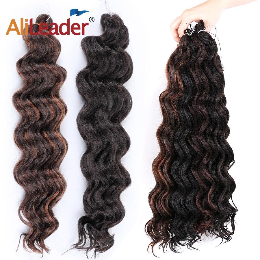 Leeons Crochet Hair Water Wave Braiding Hair Extensions Ocean Wave Synthetic Hair Extensions Ombre Braiding Wavy Crochet Hair