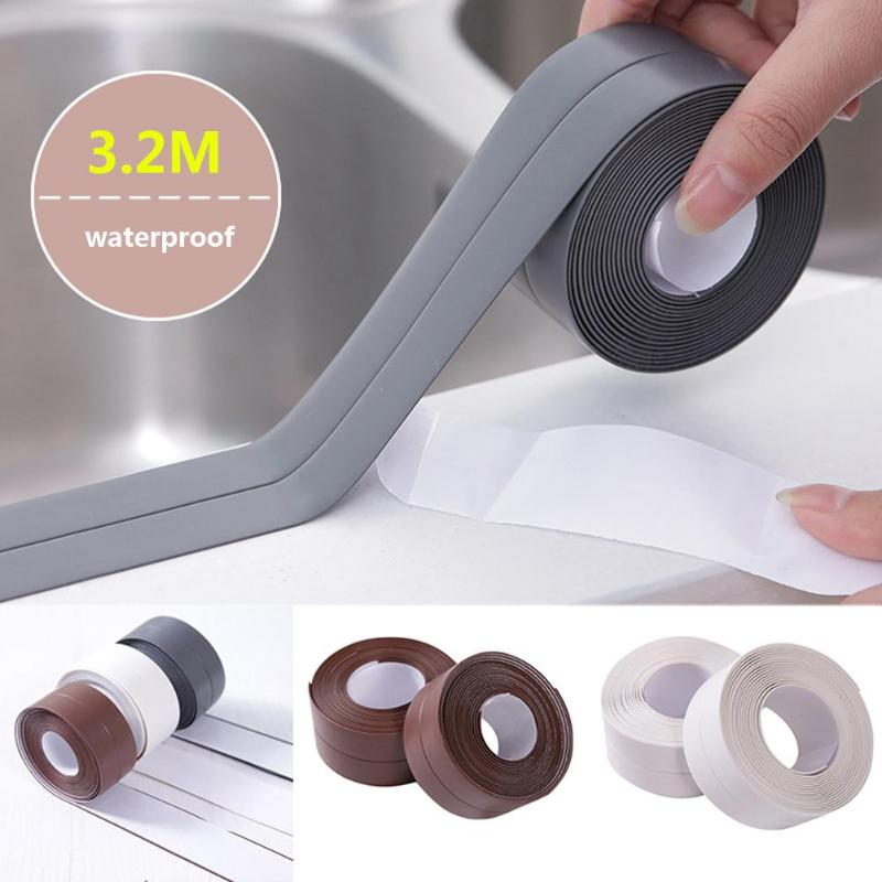 3.2M 1 ROLL PVC Material Kitchen Bathroom Wall Sealing Tape Waterproof Mold Proof Adhesive Tape 3.2mx2.2cm Hardware