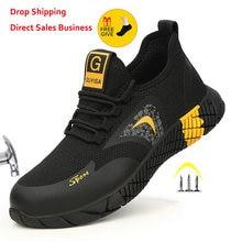 Oddychające męskie buty ochronne buty z stalowa nasadka na palec przypadkowi męskie buty pracują niezniszczalne buty odporne na przebicie trampki robocze