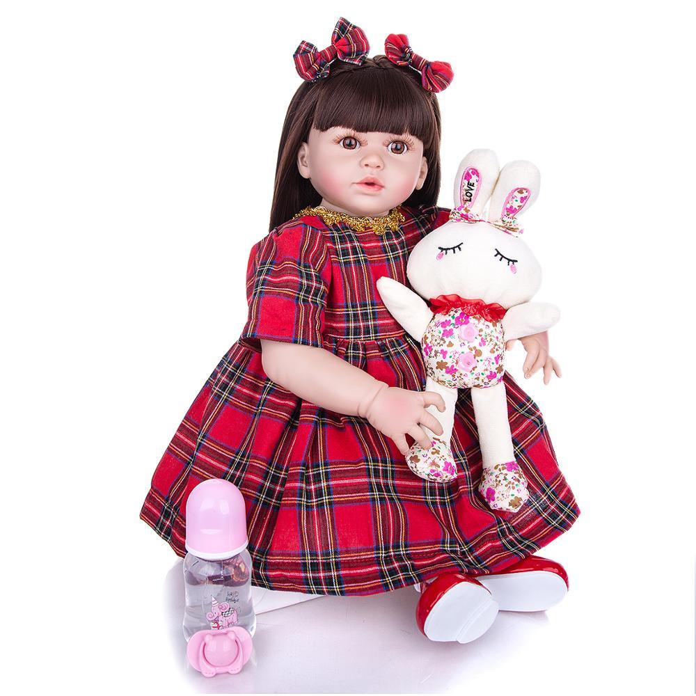 57 CM Silikon Volle Körper Reborn Puppe Babys Mädchen KEIUMI Lebensechte Prinzessin Neugeborenen Kleid Up Puppe Bonecas Für kinder tag Geschenke