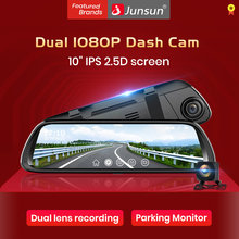 "Junsun Dual Lens 1080P 9.66"" IPS Touch Screen Car DVR Stream RearView Mirror Dash Camera Dual Lens Night Vision Parking Monitor(China)"