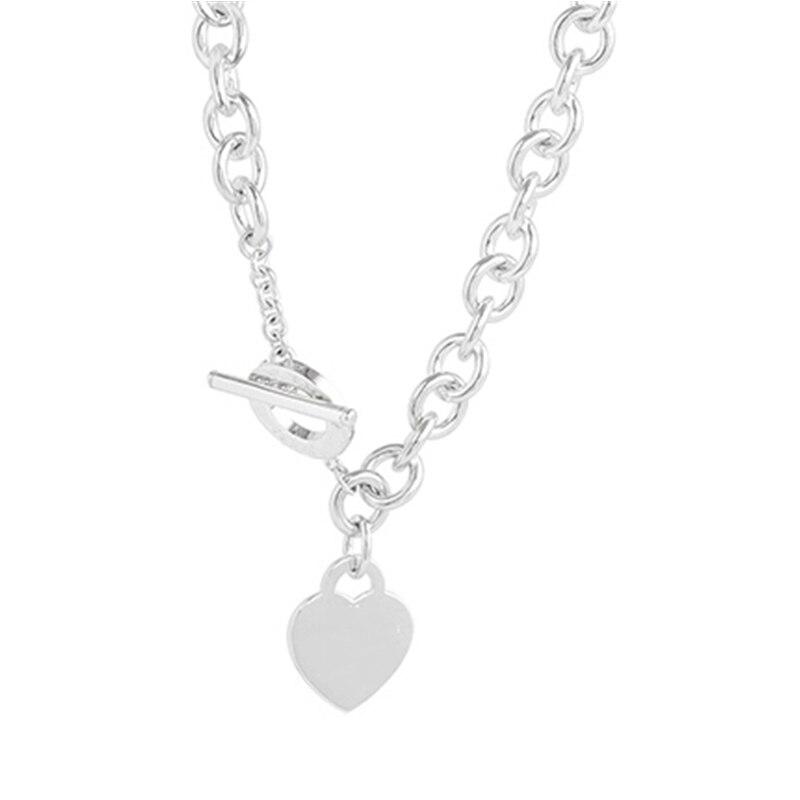 SHINETUNG Original 100% S925 collier en argent Sterling pendentif en forme de coeur collier à la mode femmes Logo luxe bijoux haut de gamme