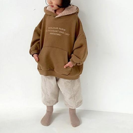 2019 Winter Children's New Children's Fleece Pullover Cotton Sweater Casual Top  Letters