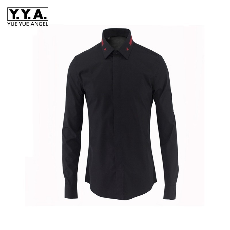 2020 New Men Black White Formal Bridegroom Dress Shirts Star Embroidery Lapel Collar Spring Long Sleeved Office Work Male Tops