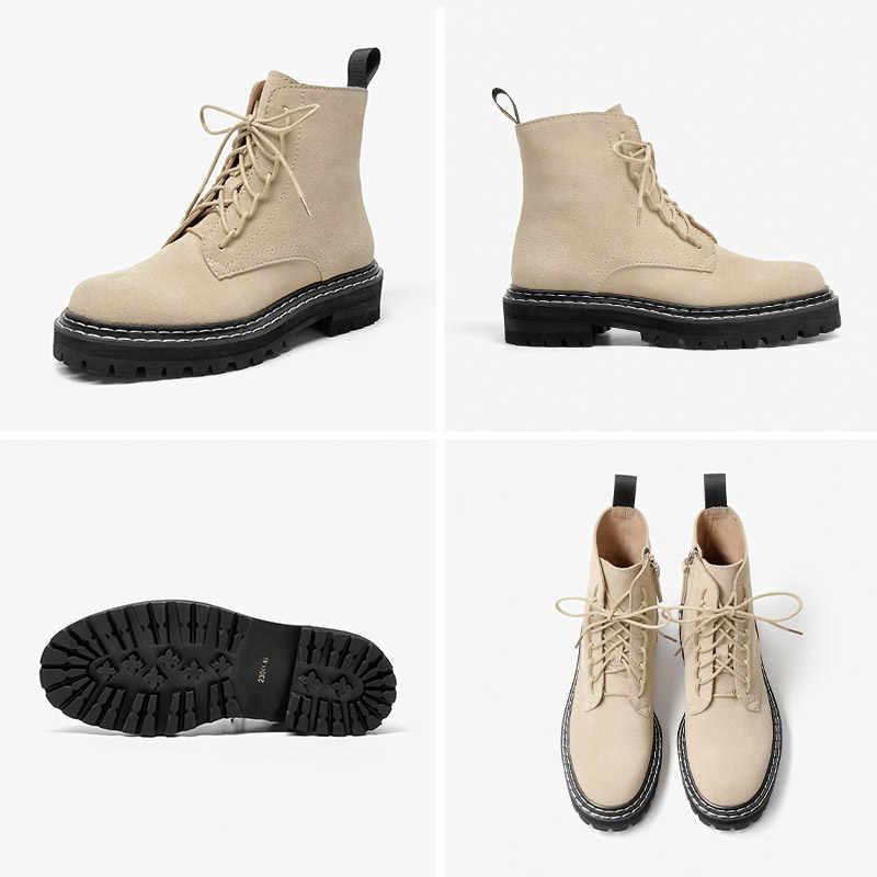 BeauToday moda yarım çizmeler kadın inek süet bağcıklı Zip platformu hakiki deri bayan kışlık botlar el yapımı 03443