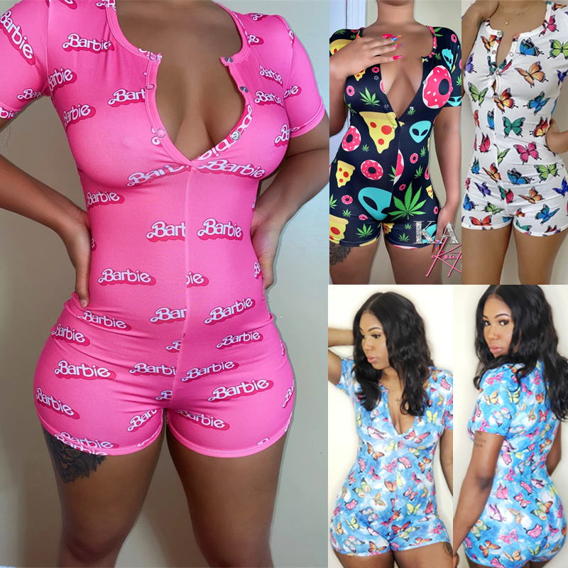 HOT Women Bodysuit Print Bodycon Bandage Jumpsuit Romper V Neck Sexy Shorts Leotard Pajamas Nightwear Homewear Tracksuit Summer