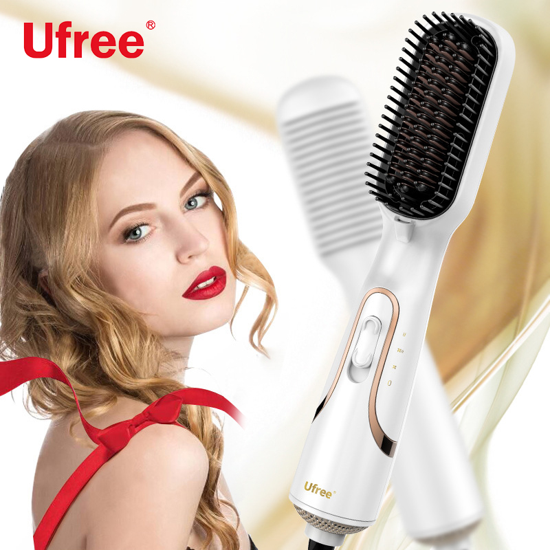 Ufree 2 In 1 Hair Dryer Hair Straightener Curler Comb Electric Hair Straightening Irons Negative Ion Wet & Dry Hair Care Tools