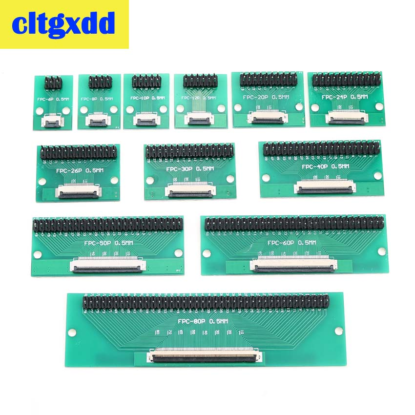 Cltgxdd DIY FPC FFC Flat Cable Connection Board 0.5 Mm Pitch Connector 6 8 10 12 20 24 26 30 40 50 60 80 Pin 0.5 Change 2.54