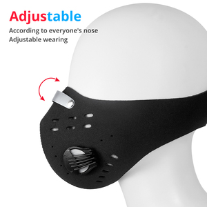 Image 5 - Dust MasKs Cycling Face PM 2.5 Anti Pollution Filter Bike Masks Activated Carbon Breathing Valve Sport Masks With 2 Filter