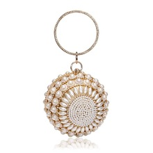 luxury pearls diamonds round women clutch bags designer ladies handbags silver gold evening bag chain shoulder crossbody bag sac цена