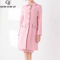 Qian Han Zi Designer brand runway fashion coat Women Long Sleeve Lily Button High Quality Pink Sweet Elegant Winter Coat Jacket