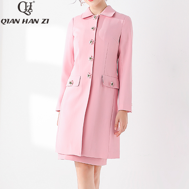 Qian Han Zi Designer marque piste mode manteau femmes à manches longues Lily Button haute qualité rose doux élégant hiver manteau veste