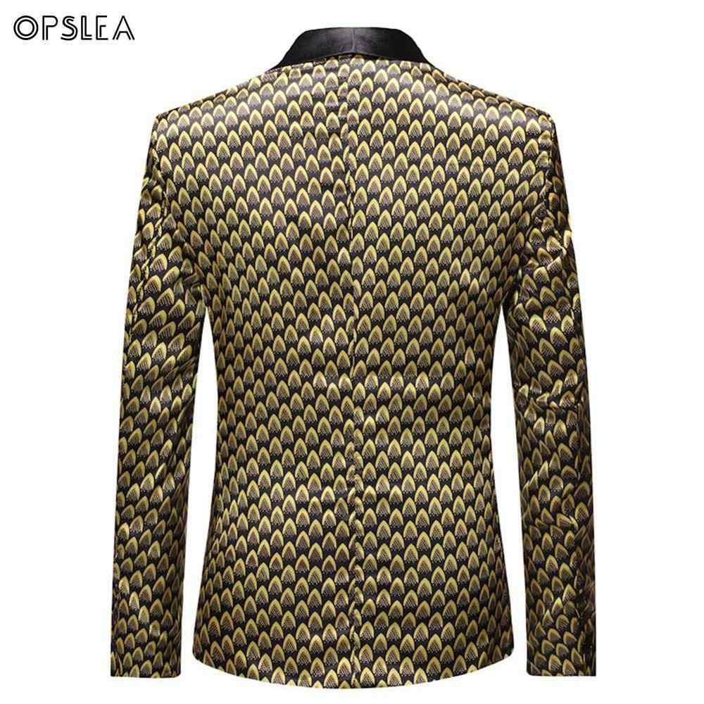 Opslea אפריקאי גברים מזדמן אישיות בלייזר דאשיקי אופנה מסיבת הדפסת חליפת מעיל 2019 סתיו והחורף חדש Slim Fit מעיל