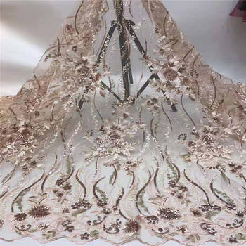 High Quality Sequence Lace Fabric for Bridal Lace Materials Embroidery African French Tulle Lace Fabric Sequins Fabrics