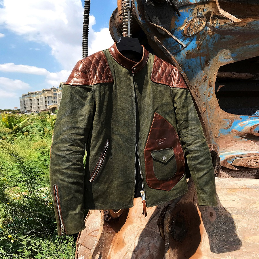 H528bcda5aa8d4b099979ba1c51eaa32c8 Free shipping.popular mens genuine leather Jacket,Us vintage Heavy wax canvas jacket stitching cowhide.quality.thick hard