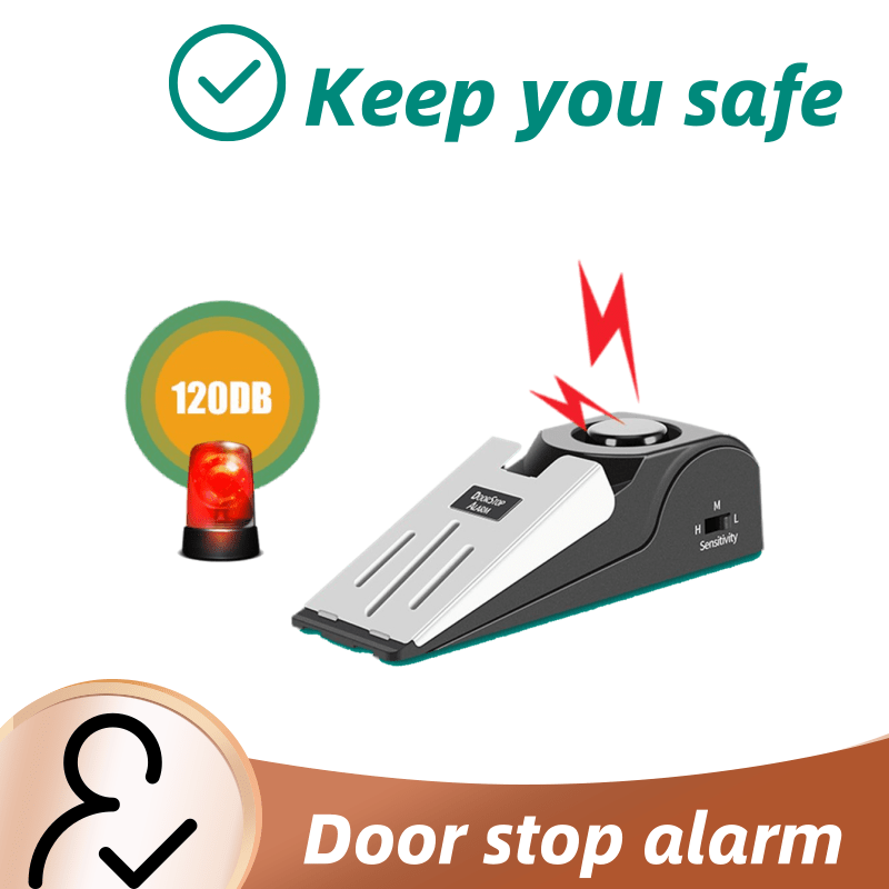 Hot Sales Wedge Shaped 120 DB Security Home Door Stop Stopper Alarm Block Blocking Systerm New Drop Ship