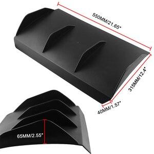 """Image 5 - Universal Spoiler Rear Bumper 4 Fins Curved Diffuser Fin Black ABS Car Rear Bumper Lip Diffuser 22"""" x 12"""" For Dodge"""