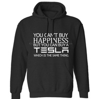 Tesla,You Can't Buy Happiness Funny Men's New Car Gift Mens Neutral (Womens) Winter Hoodies Sweatshirts Free Shipping