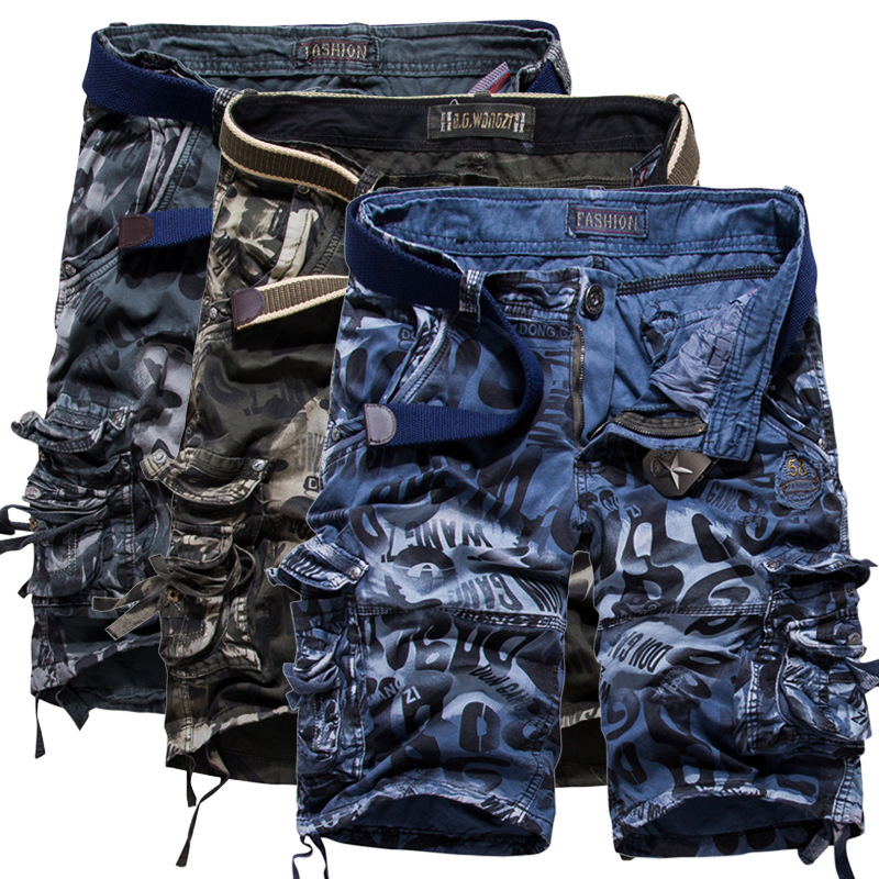 Europe And America Large Size 40 42 MEN'S Overalls Multi-pockets Loose-Fit Shorts Camouflage Pants Cotton Pants 2292