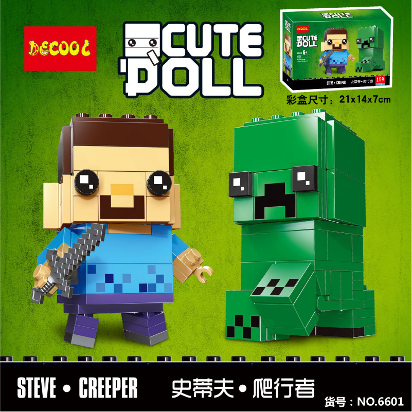 Mini Block Steve Creeper Cute Doll Mine Craftedly Bircks Owen Gwenpool Building Blocks Cute Doll Gift For Children 6801