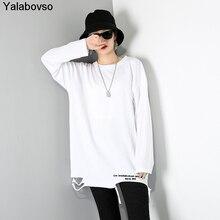 Женский пуловер с круглым вырезом однотонная белая футболка