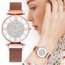 Las mujeres imán hebilla llena de diamantes reloj de damas de lujo de malla de acero inoxidable reloj de cuarzo Correa YOLAKO reloj