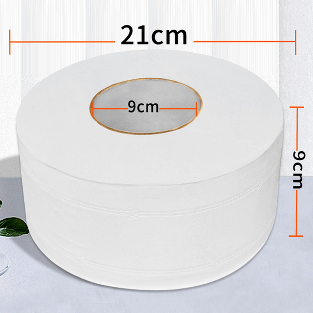 1 Roll Top Quality Jumbo Roll Toilet Paper 4-Layer Native Wood Soft Toilet Paper Pulp Home Rolling Paper Strong Water Absorption 5
